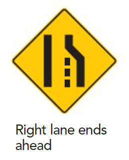 Right lane ends here - sign - ICBC