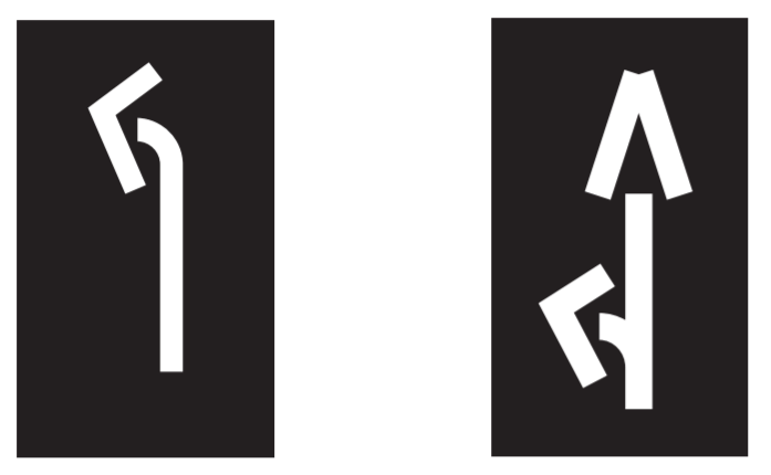 Designated lane markings on the road